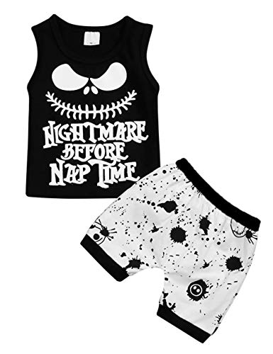 FUTERLY Toddler Baby Boys Clothes 2PCs Outfit Set Nightmare Printing Long Sleeve and Camouflage Pants Clothing Set 0-6T Kids Clothes (Black-Sleeveless, 0-6 Months)