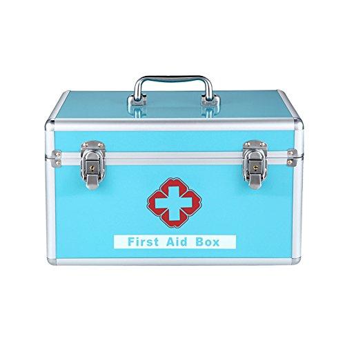 Dewel 救急箱 アルミ製  両層 薬箱 鍵付き 取っ手付き 防災 多機能収納 携帯ストラップ付き (ブルー)