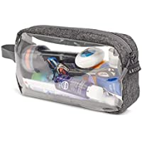 Arcido Transparent Washbag - Airport Security Compatible 20cm Cosmetics/Liquids Bag with Grey Canvas and Waterproof Zip
