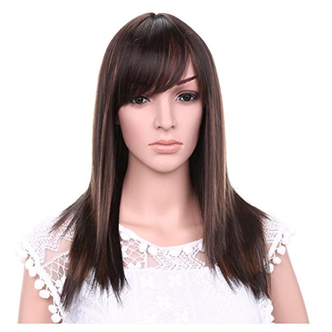 あなたのもの所属ヘッドレスJIANFU 女性のための21inchロングストレートウィッグ髪の自然な色茶色の黒のかつらの斜め強打女性のための髪の耐熱性 (Color : Brownish black highlight)