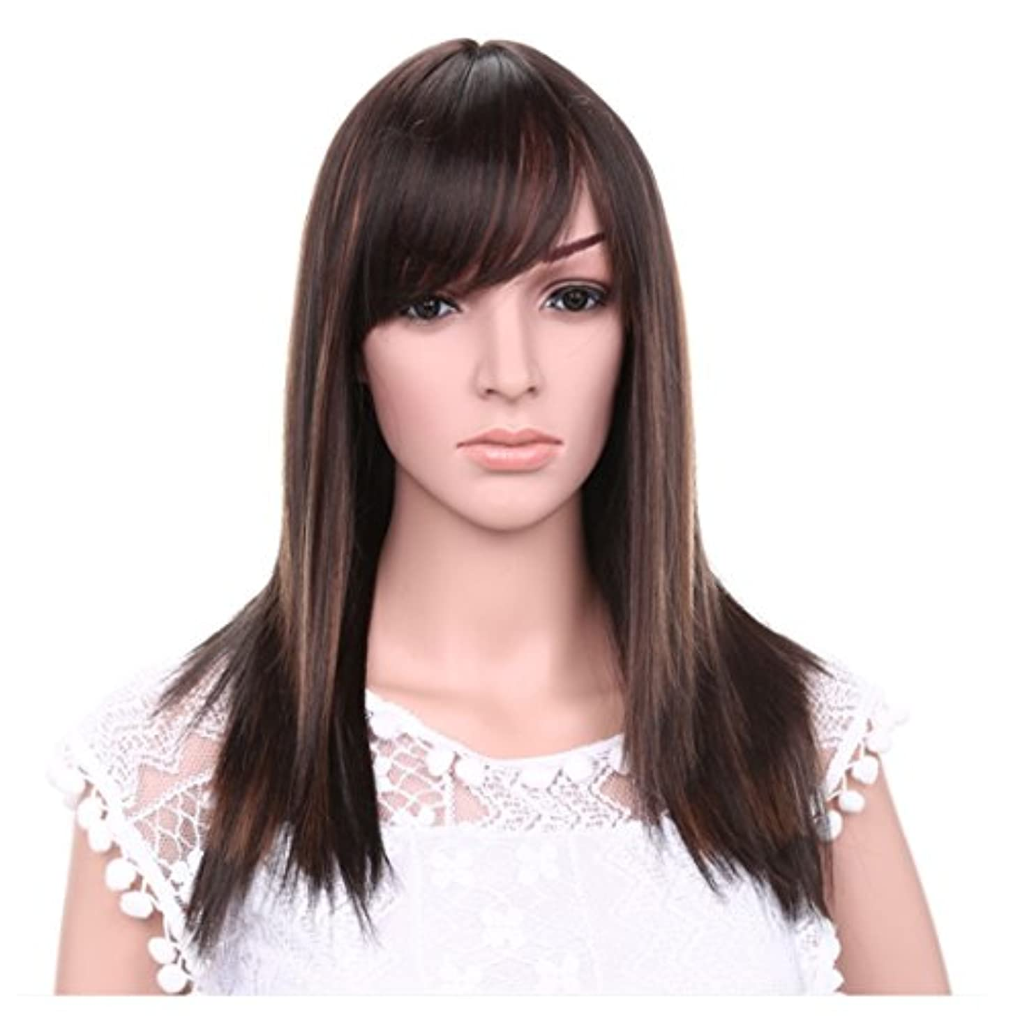 俳句蒸留ラベルJIANFU 女性のための21inchロングストレートウィッグ髪の自然な色茶色の黒のかつらの斜め強打女性のための髪の耐熱性 (Color : Brownish black highlight)