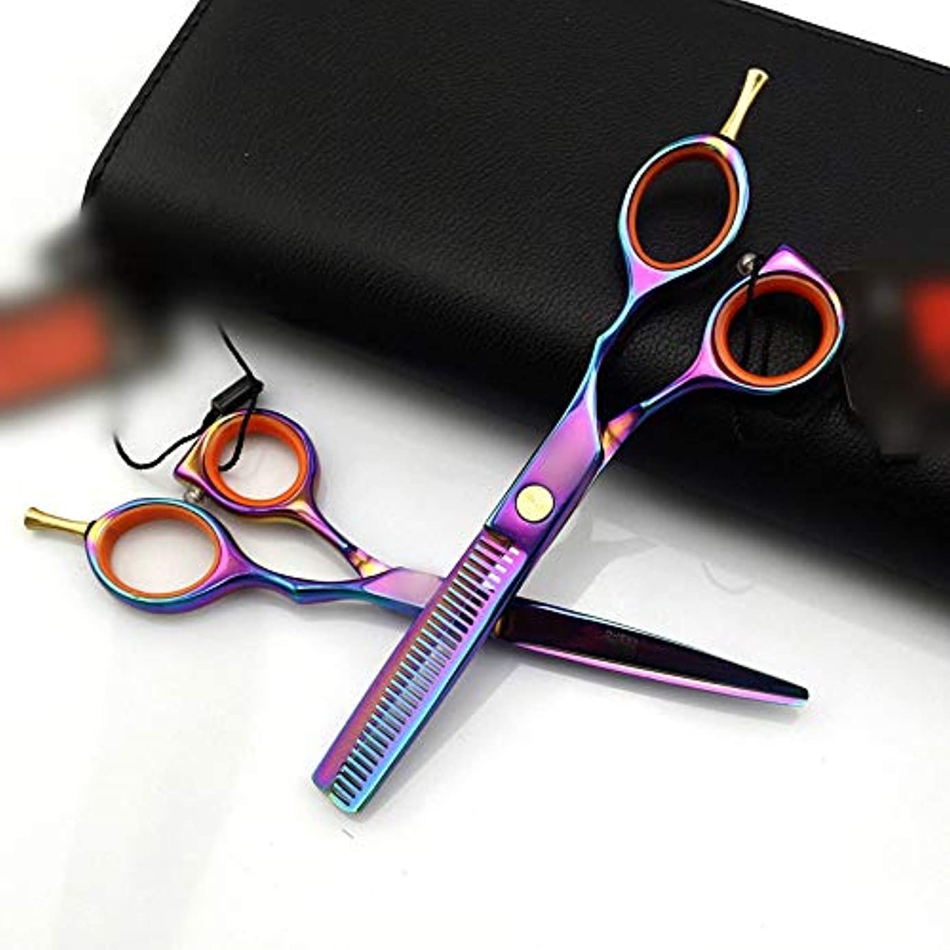 衝突コース配る叫び声Goodsok-jp 5.5インチの多彩な専門の理髪はさみ、平らな歯の理髪はさみセット (色 : Colors)