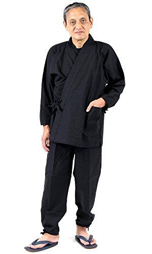 作務衣Lサイズブラック黒久留米日本製高品質作業着通年メンズ男性紳士さむえさむい綿100%父の日敬老の日海外お土産