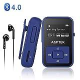 AGPTEK Bluetooth4.0 MP3プレーヤー ミニ クリップ式 運動用 防汗カバー&アームバンド付属 内蔵8GB マイクロSDカード最大128GBに対応 A12 ディープブルー