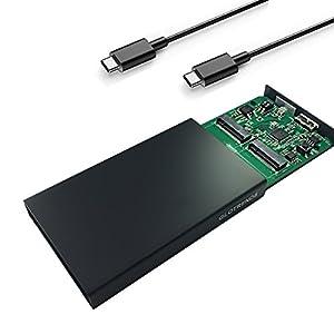 GLOTRENDS M.2(NGFF)RAID0/1/JBOD対応 HDDケース NGFF SSDケース- USB-C USB 3.1 Gen 2(10Gbps)インターフェイス、2242mm/2260mm/2280mm 軽量 UASP対応 ドライバ USBケーブル付き アルミ合金シェル ブラック(M2R)