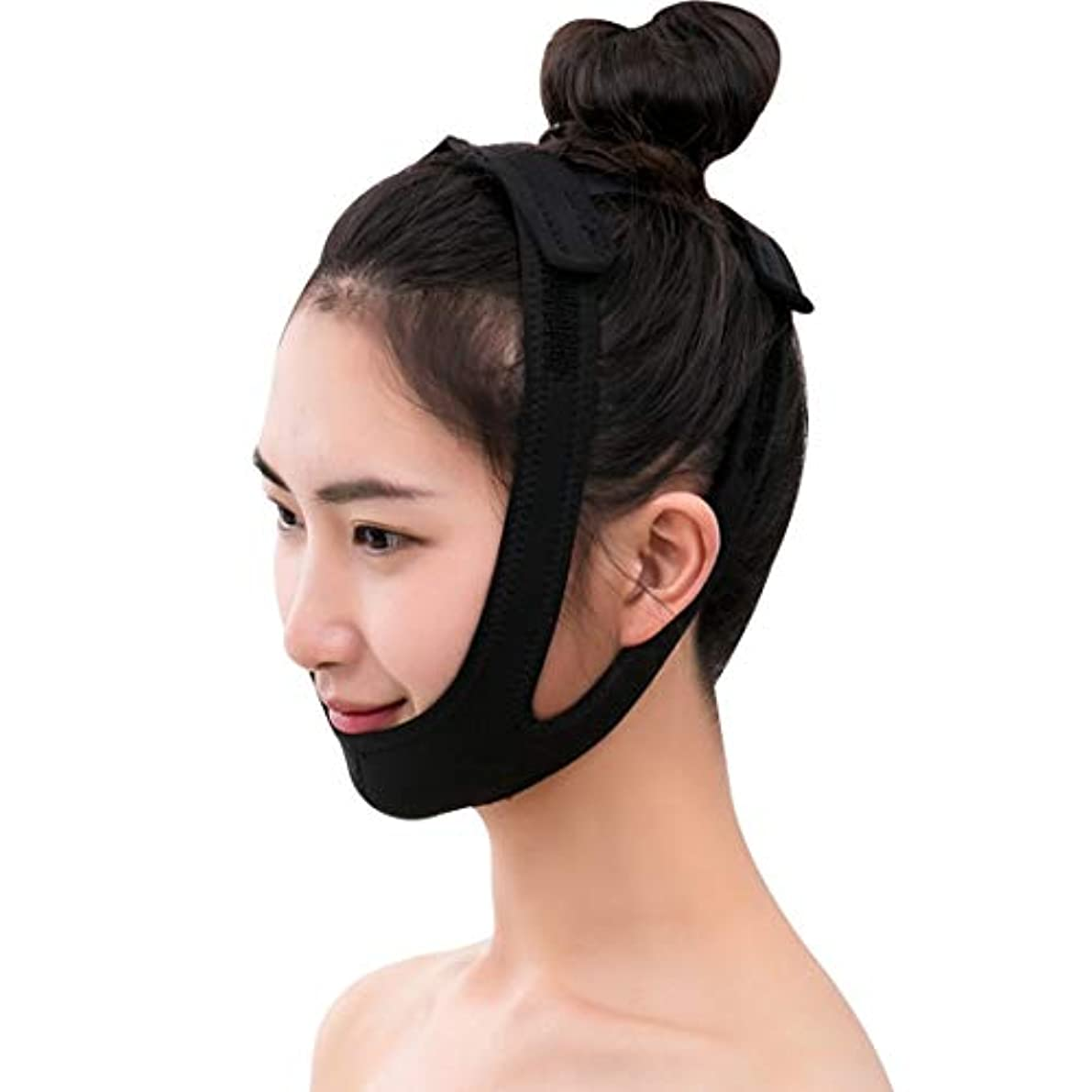 フロンティアトリッキー縫い目ZWBD フェイスマスク, フェイスリフティング包帯マスク小さなVフェイス包帯はツールで引くことができます睡眠薄い顔の顔の持ち上がる美顔のマッサージ調整可能なサイズブラック