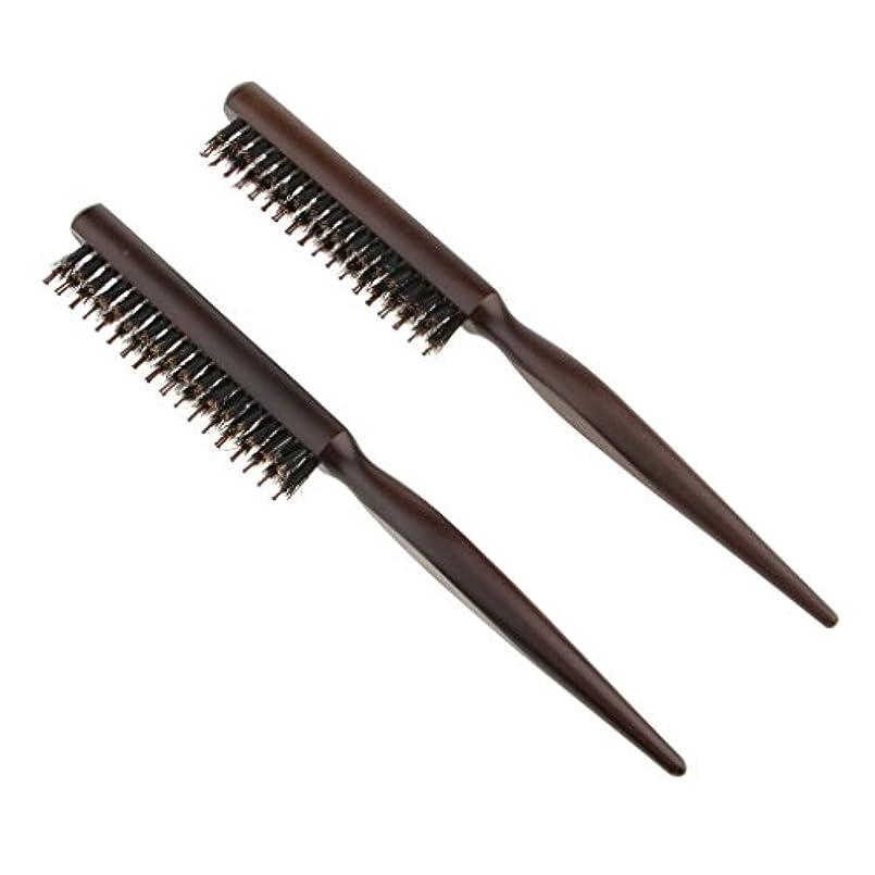 誠実インスタンス運河Toygogo ヘアセクショニング、エッジコントロール、バックコーミング用の木製ラットテールピック付きヘアブラシコームをからかう自然な毛