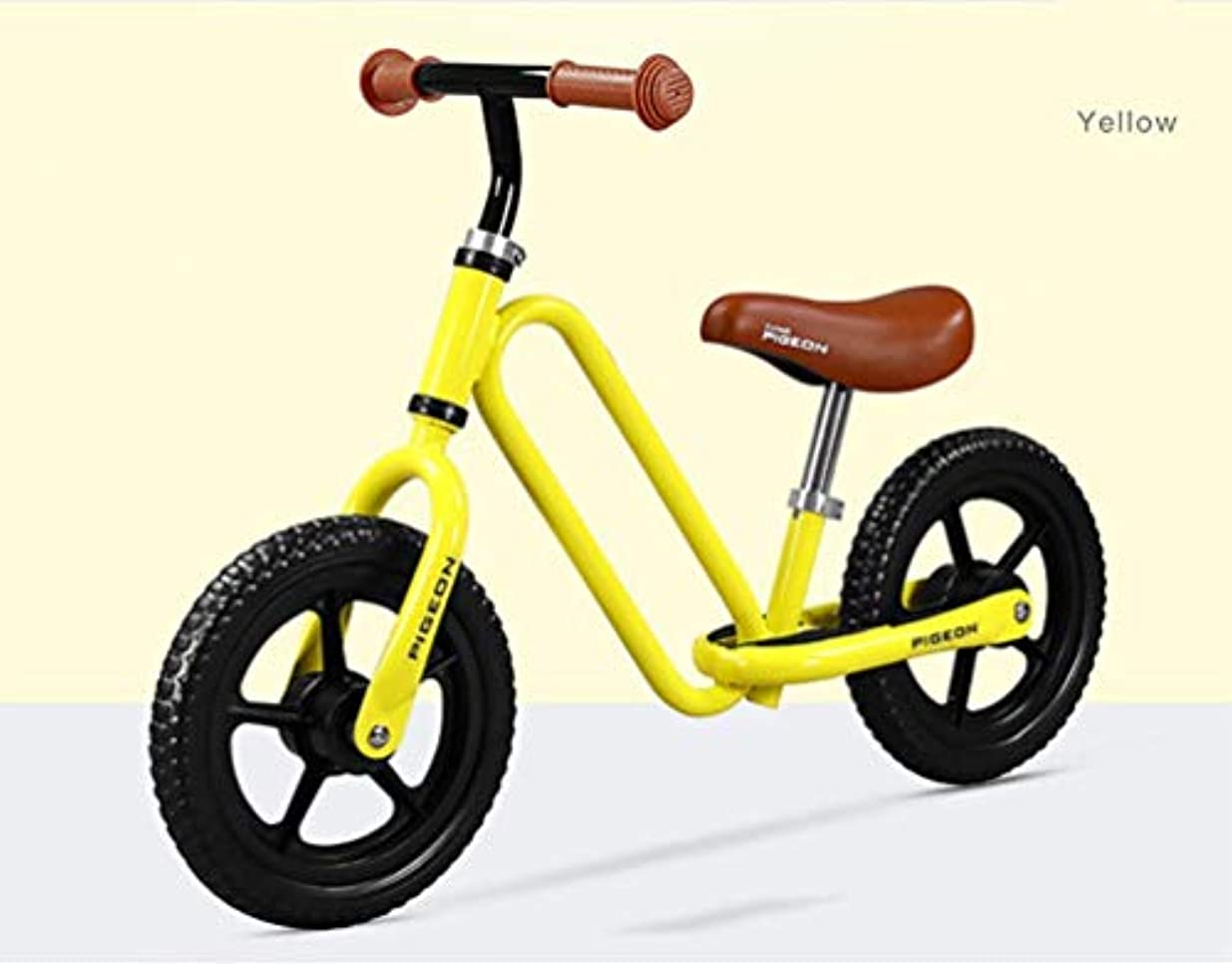 ご注意好戦的なマラドロイトShhdd 幼児25歳の男の子と女の子、高さ調節可能な座席とハンドル、12インチ用ペダルなしバランスバイクピンク、軽量自転車 (Color : Yellow)