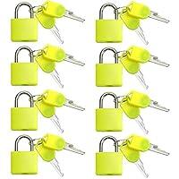 VIP Home Essentials - 小型高耐久ABS樹脂カバーソリッド真鍮ボディ個別キー南京錠 - 8パックロックセット (イエロー)