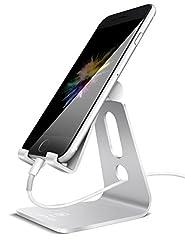 スマホ スタンド 角度調整可能, Lomicall iphone スタンド : 充電スタンド, ホルダー 対応 Nintendo Switch, 携帯電話, アイフォン, iPhone 7 6 6s plus 5 5s ,Samsung S3 S4 S5 S6 S7, Galaxy S7 S6, Note 6 5, LG, Sony Xperia, Nexus - 銀