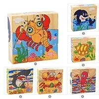 (cottonz)木製パズル 組み合わせパズル 立体 六面 知恵の板 木製タングラム 知育玩具 木製つみき キッズおもちゃ 子供 誕生日 プレゼント (海の動物)