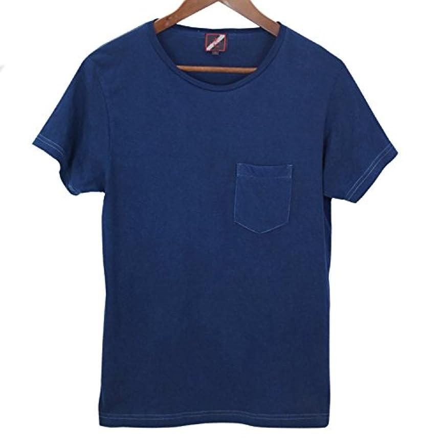 妨げる瞳テザーメンズ琉球藍染め半袖ポケットTシャツ