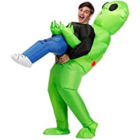 Wild Cheers Inflatable Alien Costume, Fancy Dress, Inflatable Costume Suitable for Party, Halloween, Christmas Green