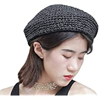 Clecibor Straw Beret Solid Plain Flat Top Woven Berets French Style Painters Hat Cap