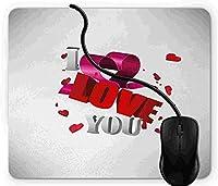 マウスパッド わたしは、あなたを愛しています, 疲労低減 ワイヤレスマウスパッド 耐久性が良い 滑り止めゴム底 滑りやすい表面 マウス用パット 1D4198