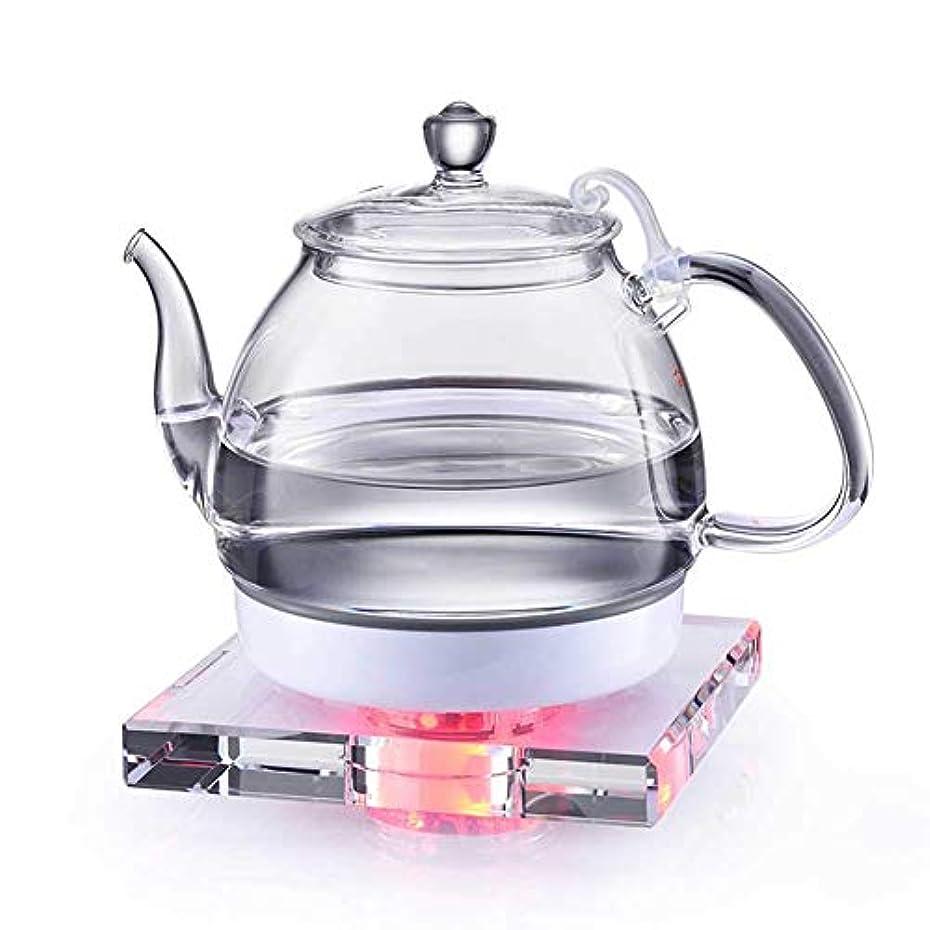 悲惨避ける予感ガラス製電気ケトル、クリスタルベース付き1L、乾式燃焼防止、自動加熱、BPAなしでは乾式燃焼防止、白