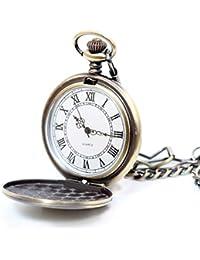 【Démodé】シンプル アンティーク 懐中時計 メンズ レディース チェーン 蓋付き 開閉式 時計 ローマ数字 ナースウォッチ (アンティークブロンズ(文字盤ホワイト ローマ数字))