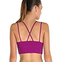 2331cc86e0 Exerin Women s Strappy Wirefree with Removable Cups Padded Work Out Yoga  Racerback Sports Bra