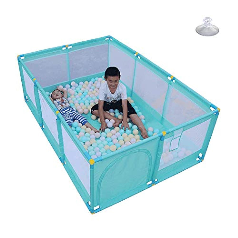 ベビーサークル, 玩具収納袋付き10パネルベビープレイペン、幼児用、アンチロールオーバー&ノンスリップ用の屋内プレイヤード - (グリーン)66cmの高さ