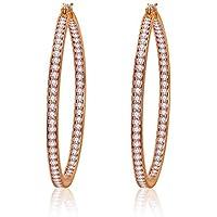 Italina Cute Huggie Hoop Earrings Cubic Zirconia Jewelry Earrings for Women Girls Fashion White CZ Stones Inlaid 50MM Rhodium/Gold/Rosegold Plating