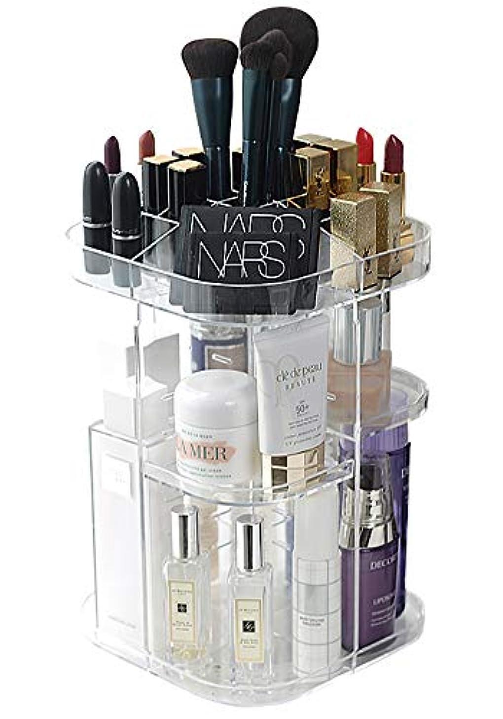 BEREAM 化粧品 スタンド メイク ケース コスメ ボックス 透明 化粧 メイク道具 収納 360度 回転式 小物 収納 (クリア/ロングタイプ)