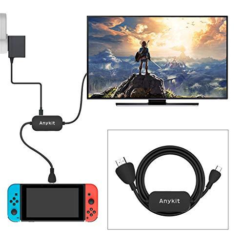 Switch変換ケーブル Anykit Switch ケーブル USB3.0 /Type C/HDMI一体変換ケーブル Switchドッグ コンパクト 変換ケーブル PD充電 音声・映像サポートMac Book/ HuaweiMate10 /Chrome book/HP Spectreなどに対応され(ブラック-1m)