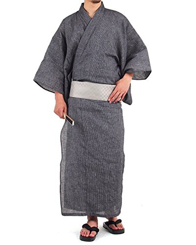 (トップイズム) TopIsm 浴衣 メンズ セット 4点 ゆかた 帯 下駄 扇子 男性 和服 set L 3-ストライプブラック