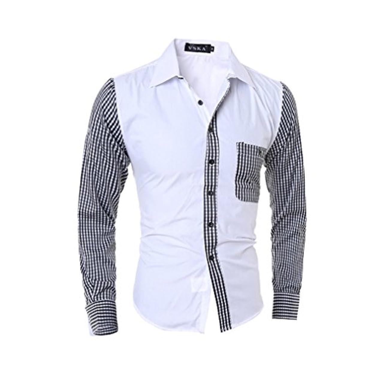 偽大きさメールHonghu メンズ シャツ 長袖 裏地付き スリム カジュアル ホワイト L 1PC