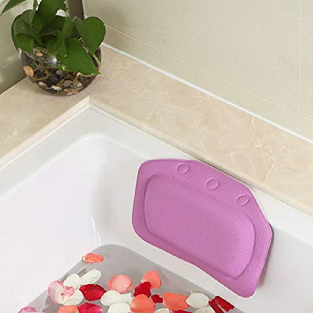 コンパクト自動的にテセウス柔らかいpvc発泡スポンジ風呂枕防水ヘッドレストクッション付き浴室シャワー浴槽リラックスアクセサリー,Purple