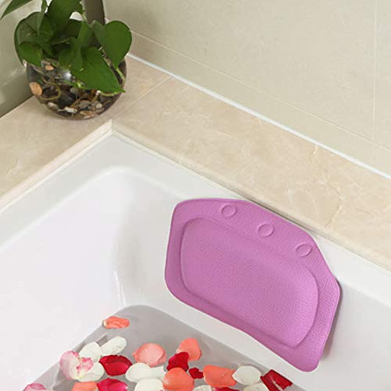 アニメーション機知に富んだ方法論柔らかいpvc発泡スポンジ風呂枕防水ヘッドレストクッション付き浴室シャワー浴槽リラックスアクセサリー,Purple