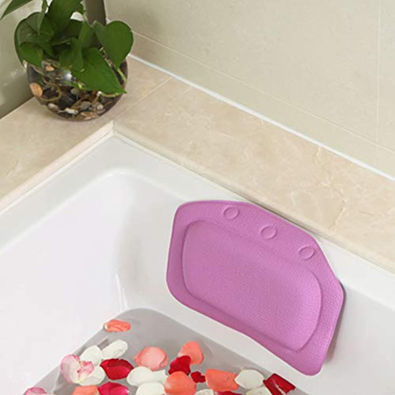 宙返り証明するうるさい柔らかいpvc発泡スポンジ風呂枕防水ヘッドレストクッション付き浴室シャワー浴槽リラックスアクセサリー,Purple