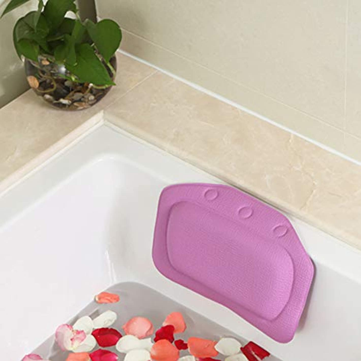 検閲アブストラクト振動する柔らかいpvc発泡スポンジ風呂枕防水ヘッドレストクッション付き浴室シャワー浴槽リラックスアクセサリー,Purple