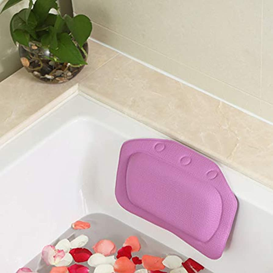 模索同行カートン柔らかいpvc発泡スポンジ風呂枕防水ヘッドレストクッション付き浴室シャワー浴槽リラックスアクセサリー,Purple