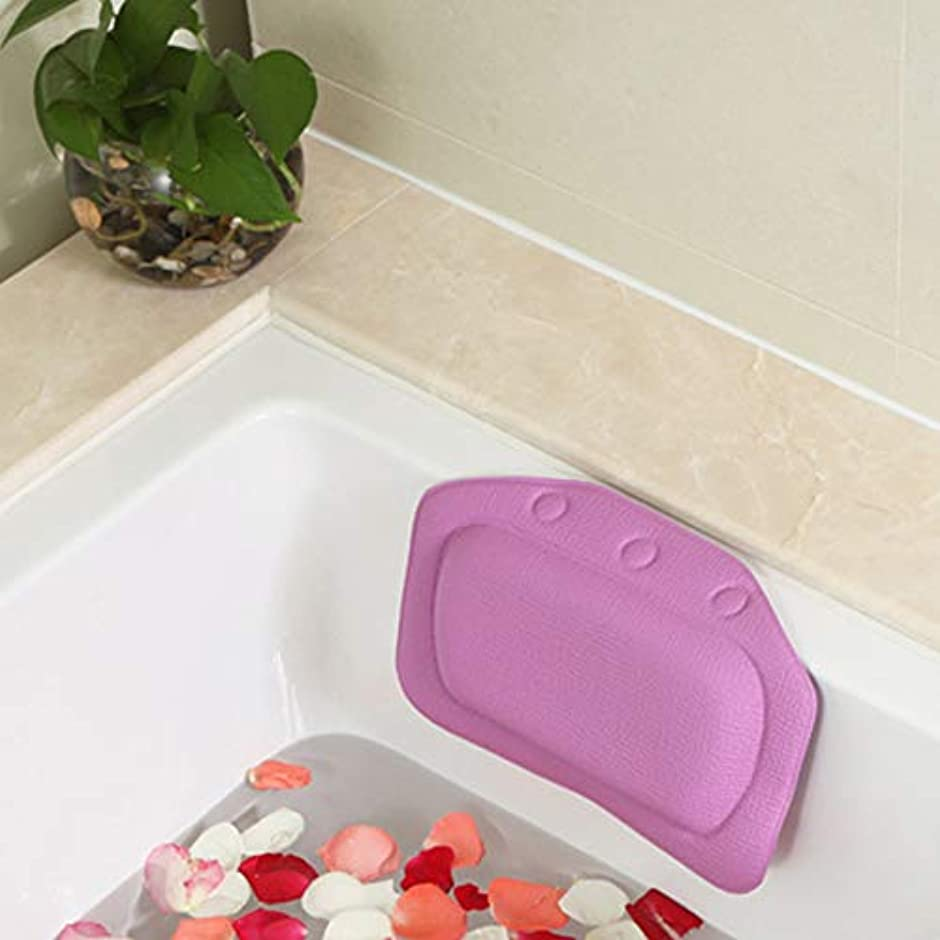 ソーシャル若さアクロバット柔らかいpvc発泡スポンジ風呂枕防水ヘッドレストクッション付き浴室シャワー浴槽リラックスアクセサリー,Purple