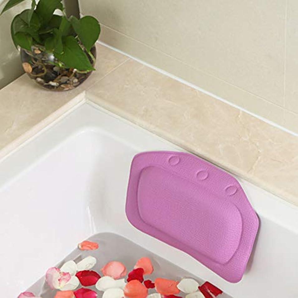 普遍的なテレマコス比較的柔らかいpvc発泡スポンジ風呂枕防水ヘッドレストクッション付き浴室シャワー浴槽リラックスアクセサリー,Purple