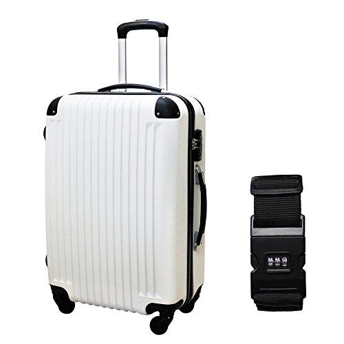 DABADA(ダバダ) スーツケース 超軽量 TSAロック搭載 エンボス加工 機内持込 ファスナー開閉式 ABS素材 S M Lサイズ 全8色 スタンダードベルト付 (S, ホワイト/ブラック)