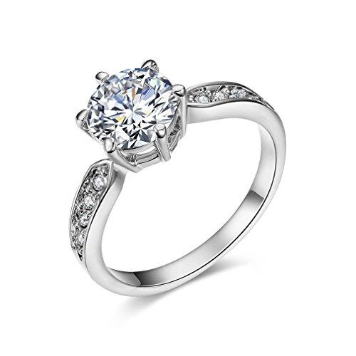 [ベラ バリー] Bella Barry ウエディング k18 ホワイトゴールド メッキ CZダイヤ リング レディース 婚約指輪(ラウンド形) サイズ:11号