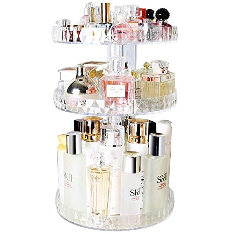 セメント頭蓋骨頬KitMall コスメ ボックス タワー型 大容量 回転式 360度 アクリル 透明 メイク道具 化粧品 収納 口紅 化粧水 ファンデーション (透明)