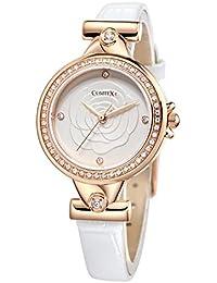 Comtex レディース 腕時計 本革 アナログ ウォッチ クリスタル サファイアガラス 時計 ホワイト ピンクゴールド