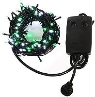 クリスマス イルミネーション ストレート ライト 400 LED / 40m ホワイト/グリーン 28パターン コントローラー セット