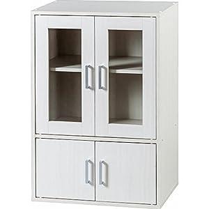 アイリスオーヤマ 食器棚 ガラス キャビネット 幅60×奥行38.8×高さ90cm オフホワイト GKN-9060 GKN-9060