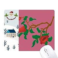 レッド・グリーン文化の花の絵 サンタクロース家屋ゴムのマウスパッド