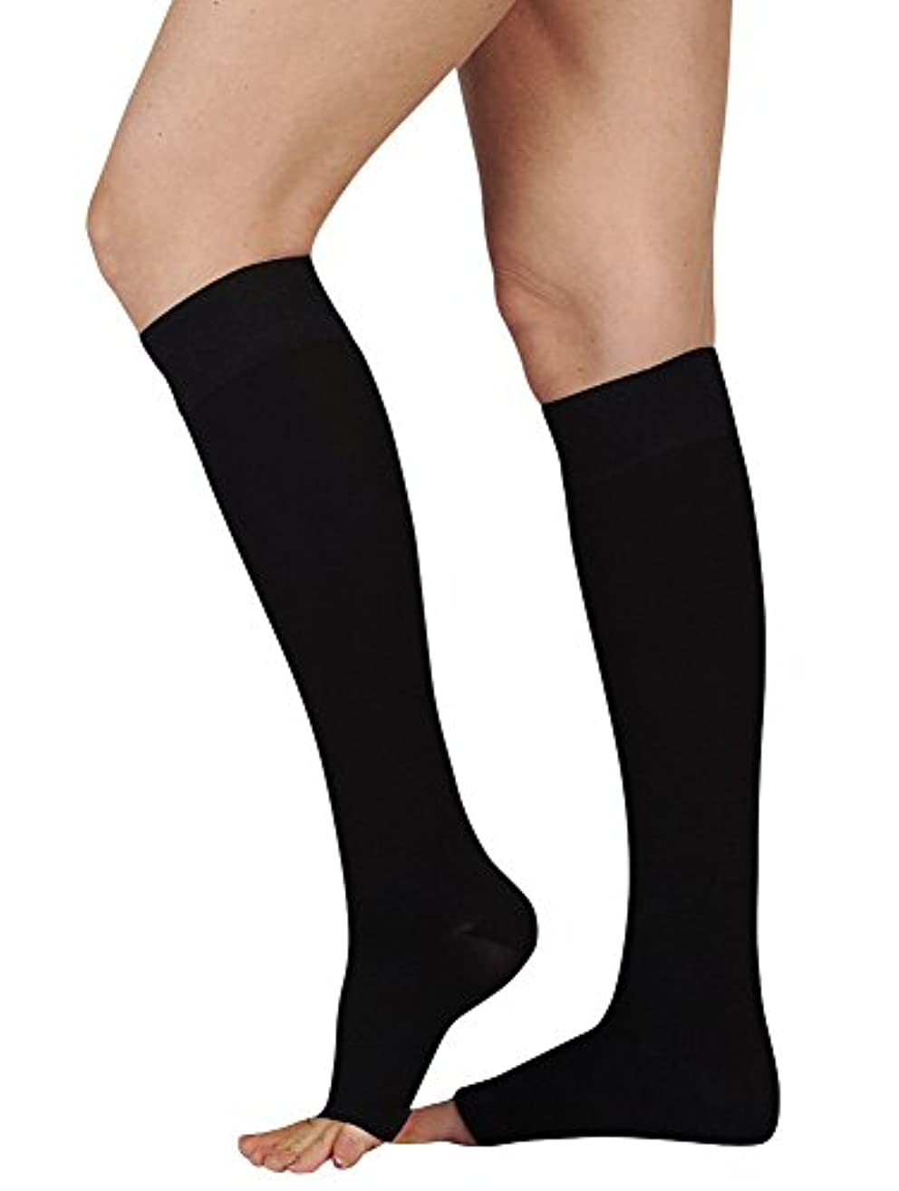 におい識字苦痛Juzo Soft Knee High With Silicone Dot Band 20-30mmHg Closed Toe, II, Black by Juzo