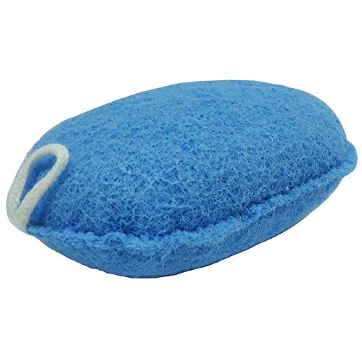 一致する縮約政治的オーエ ボディスポンジ ブルー 約縦14.5×横9.5×奥行5cm nf ヘチマボール 体洗い 泡立て 日本製