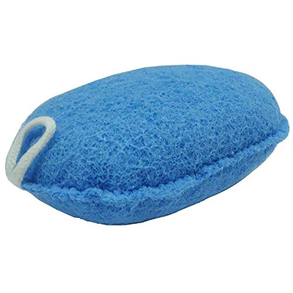 できる広く大脳オーエ ボディスポンジ ブルー 約縦14.5×横9.5×奥行5cm nf ヘチマボール 体洗い 泡立て 日本製