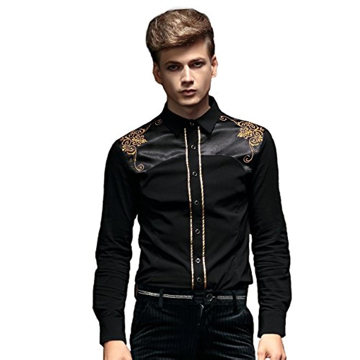 家具悪性の数字FANZHUAN メンズ シャツ 長袖 黒 スリム おしゃれ 品質 刺繍