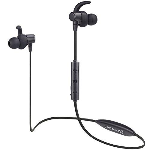 ブルートゥース イヤホン スポーツ/ランニング最適 Bluetooth 4.1 高音質 有線無線両用 リモコン・マイク付 重低音 超軽量 APT-X対応 IPX4防水防滴 ワイヤレス イヤフォン 着信振動 マグネット搭載KingYou BT003 ブラック