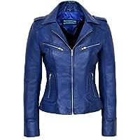 Smart Range Rider Ladies Blue Washed Biker Motorcycle Style Soft Real Nappa Leather Jacket