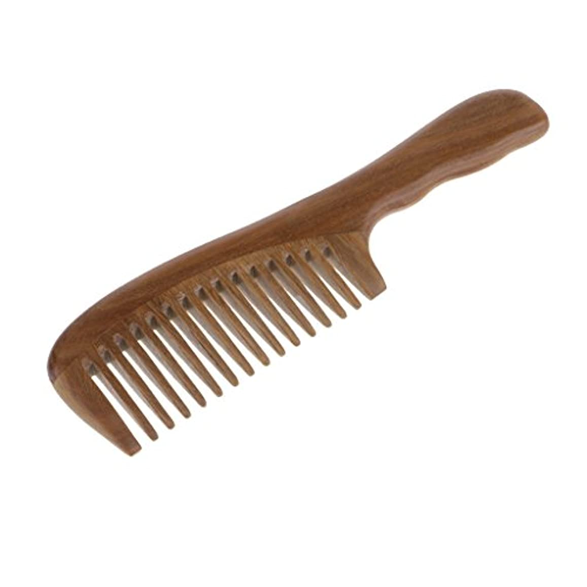 郊外長方形尊敬コーム 櫛 木製 ヘアブラシ ウッドコーム 頭皮マッサージ 帯電防止 2タイプ選べる - 広い歯