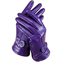 ROYAL WIND Women Ladies Luxury Soft Sheepskin Leather Gloves with Fleece Lining bowknot